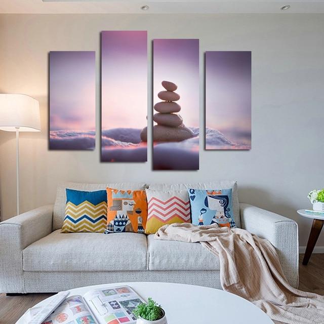 4 Pcs Pave Mur Photos Pour Salon Toile Peinture Pierre Peinture