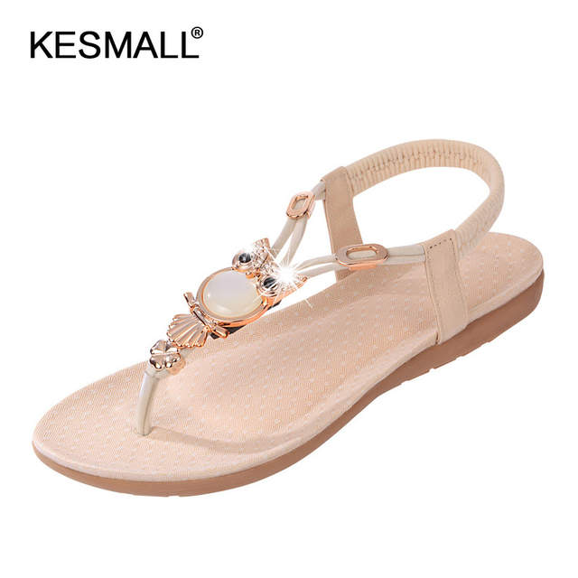 ce192ffe2430c Free shipping sandals women 2018 summer shoes new Bohemia owl Beaded sandals  and toe beach shoes
