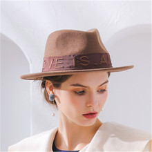 LEAYH BRAND Lettered LOVE IS AN ART Flat-top Wool Jazz Hat Women Party Fashion Fedoras Lovers Casual Caps