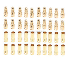20 pairs 3.5mm Copper Bullet Banana Plug Connectors Male + Female for RC Motor ESC Battery Part