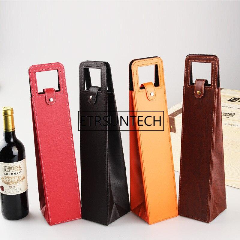 30 Stks/partij Luxe Draagbare Pu Lederen Wijn Zakken Rode Wijn Fles Verpakking Case Gift Opslag Dozen Met Handvat Bar Accessoires Speciale Zomerverkoop