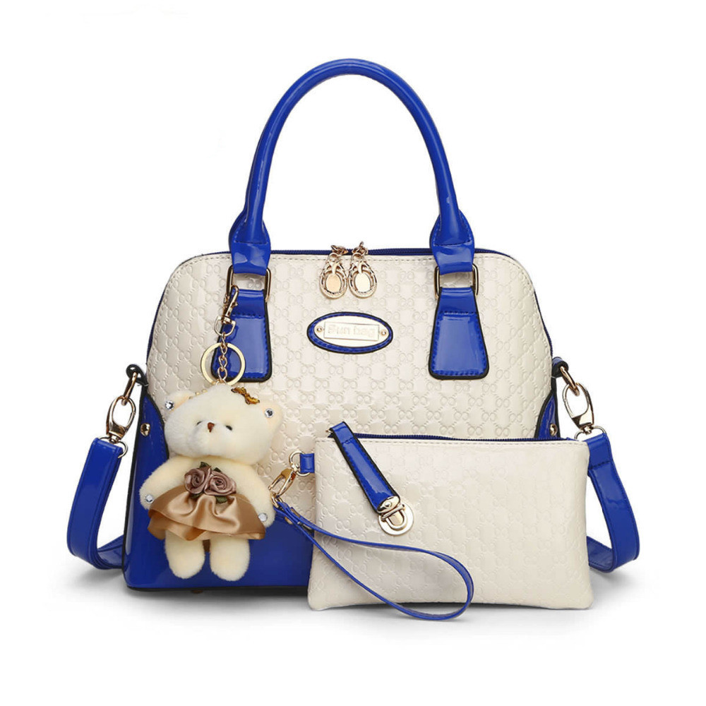 2016 new casual Embossed  designer handbags Socialite women messenger bags  fashion shoulder bag 2 bags/set with bear toy Q5