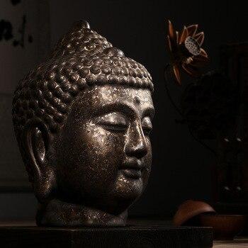 Ceramic Buddha Head Statue Home Decor Buddhist Figure Sculpture Ornament Decoration Living Room Office Buddhism R230