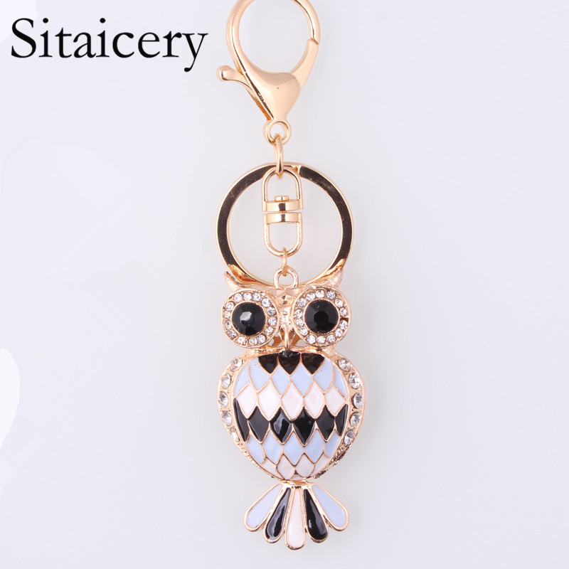 Sitaicery Keychain Jewelry Owl Keyring Stereo Crystal Jewelry Gift Wallet Car Pendant Men and women Factory Joker Pendant Direct in Key Chains from Jewelry Accessories