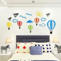 Cartoon Hot air balloon Acrylic 3D wall stickers For kids room Kindergarten Classroom DIY art wall decor Bedroom wall sticker