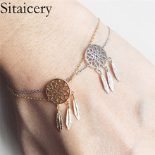 Sitaicery New Gold Silver Color Dreamcatcher Bracelet For Women Delicate Hollow Feather Charm bracelet Dream Catcher Jewelry delicate solid color hollow out leaf bracelet for women