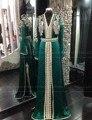 Manga longa Frisado Hijab Muçulmano Kaftan Marroquino Verde Escuro Vestido de Noite Árabe Estilo Formal Vestido robe de soiree