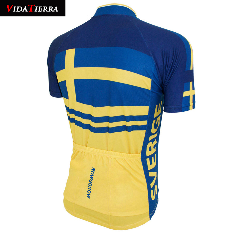 sports shoes 418c6 c4c36 US $14.88 |VIDA TIERRA 2019 men Cycling Jersey blue yellow Sweden national  team flag V pro team Clothing short sleeve leader Domineering-in Cycling ...
