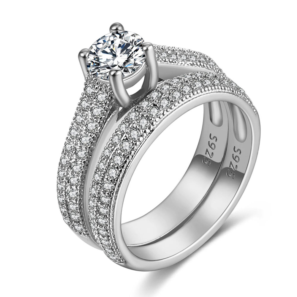 Luxury Female White Bridal Wedding Ring Set Fashion Silver Color Filled Jewelry Promise CZ Stone Engagement Rings For Women 4