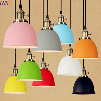 IWHD New Colorful Vintage Pendant Lamp LED American Country Loft Style Industrial Lighting Fixtures Suspenison Luminaire loft american country retro edison bulbs copper pendant lights vintage industrial pendant lamp fixtures modern kitchen lighting