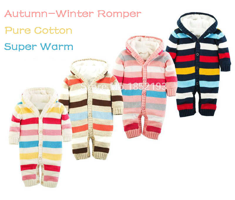 Winter   romper   Woolen sweater Baby jumpsuits Newborn brand fleece baby   romper   Teddies thicken coral velvet   rompers   0-18M