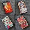 15x10CM Retro Zipper Graffiti Cartoon Women Cowhide Genuine Leather Short Creative Printing Painted Wallet Wallet A4609