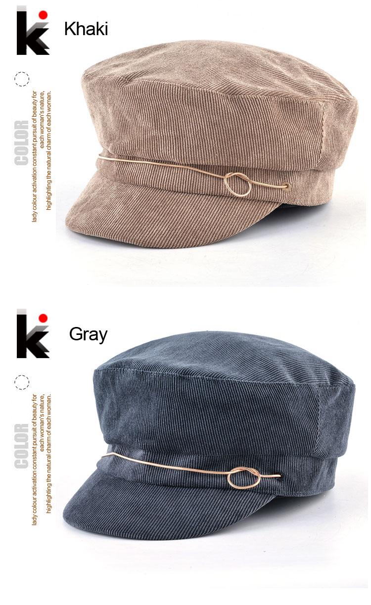 Sólida Veludo Jornaleiro Caps Para Mulheres Spring Fashion Streetwear Flat  Top Chapéus da Boina Para Senhora Outono Octogonal Gorra Boina Feminino 30108e1d8ec