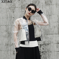 XITAO Perspective Women 2018 Korea Fashion New Stand Collar Full Sleeve Jackets Female Solid Color
