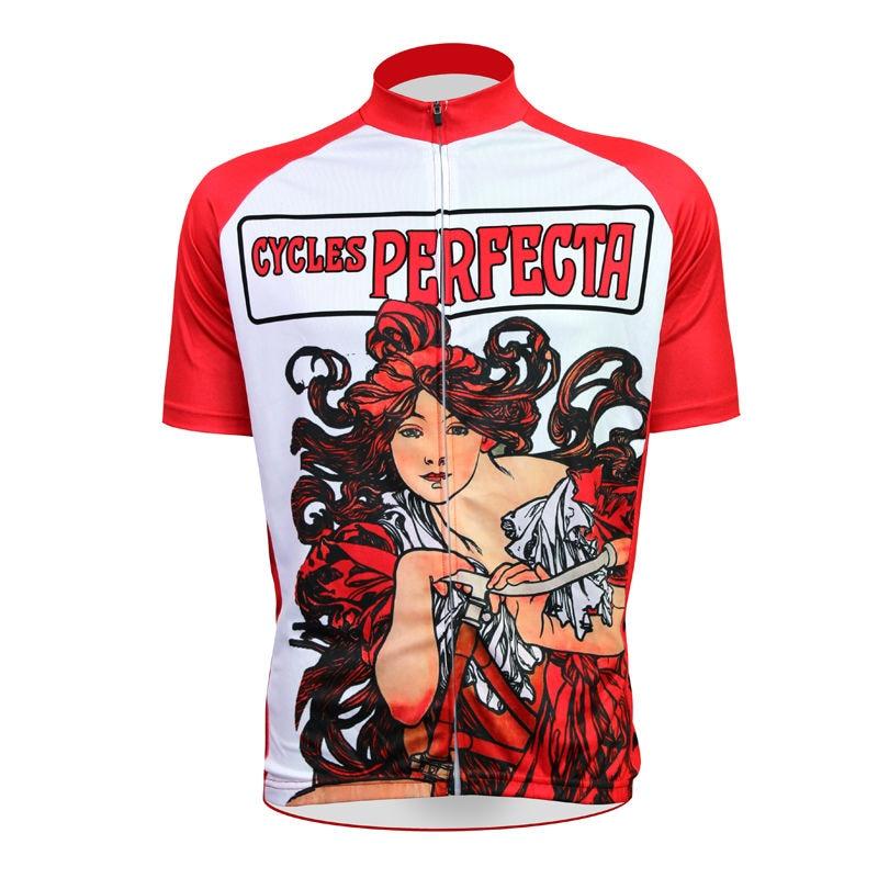 ФОТО 17 Cycles Perfecta Pattern Men 2017 Sleeve Bike new Red bike jersey XS-5XL
