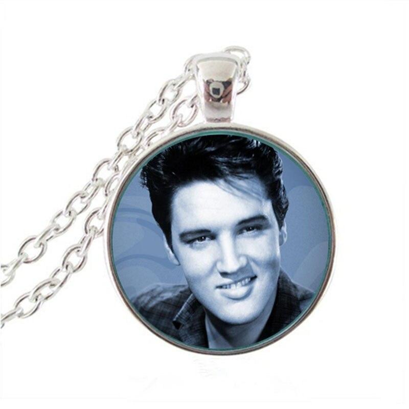 2017 Sale Zinc Trendy Collares Collier Elvis Presley Pendant Necklace New Fashion Round Glass Necklaces Pendants For Women HZ1