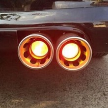 YZ car exhaust pipe modified torching end pipe with fire shining very cool protect and warning 3colors