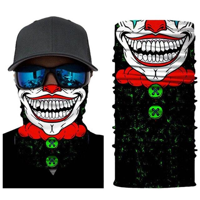 Seamless Skull Skeleton Joker Clown Balaclava Tube Motorcycle Neck Face Mask Scarf Bicycle Hunting Outdoor Ride Bandana Headband 4