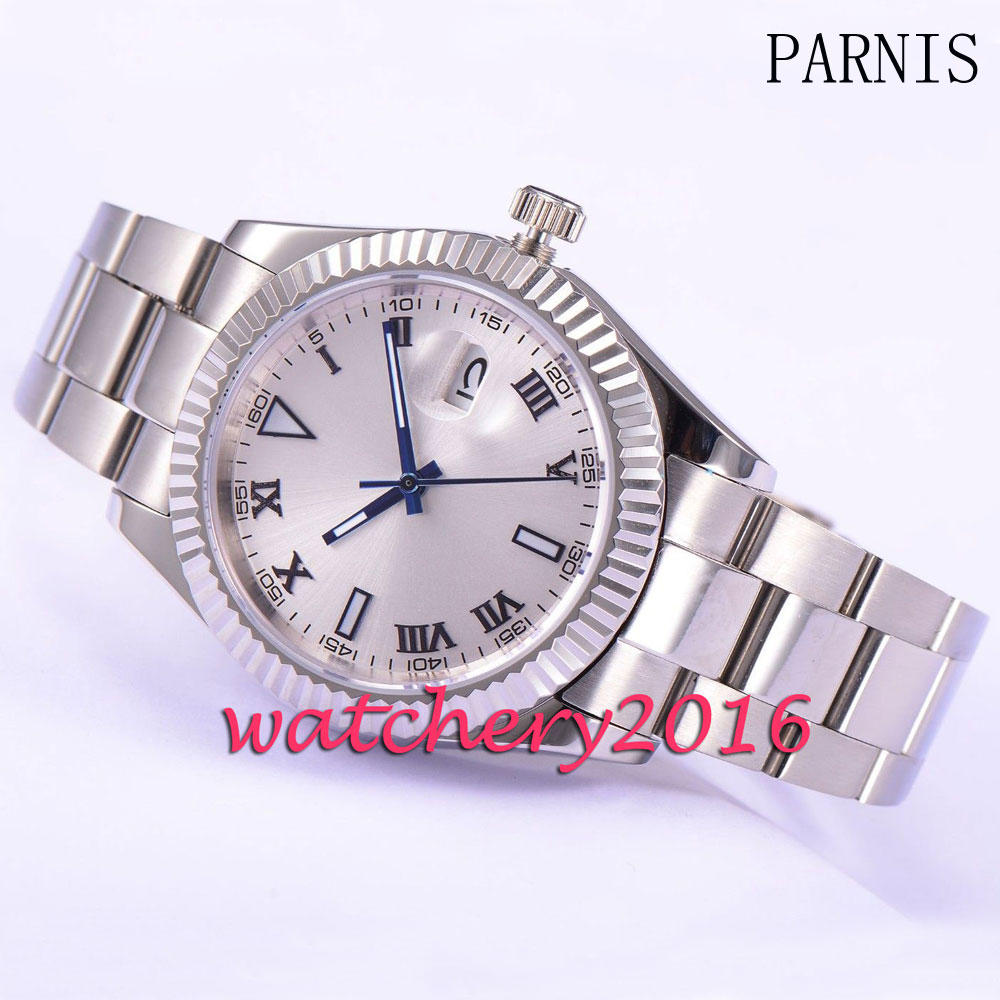 где купить Parnis New 40mm silver dial blue hands date window Deployment sapphire glass Automatic movement Mechanical Mens Wristwatches по лучшей цене