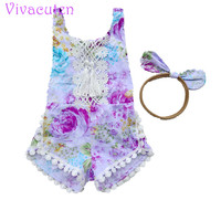 2017 Summer New Baby Girls Vintage Floral Print Cotton Bubble Rompers Newborn Infants Pink Jumpsuits Baby