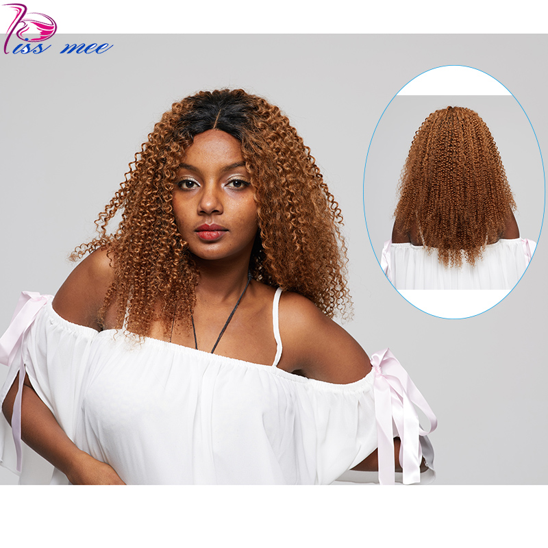 Lace Wigs Kissmee #1b/30 Blonde Ombre Curl Lace Front Wig For Black Women Brazilian Hair 10-32 Inches Kinky Curly Huamn Hair Bob Lace Wig Unequal In Performance