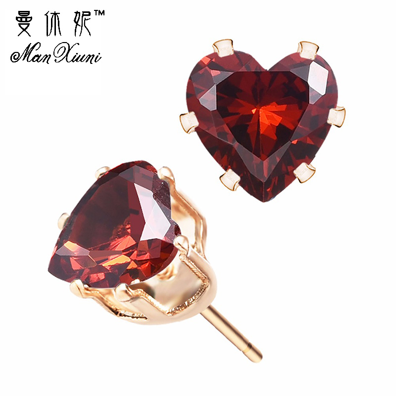 Manxiuni New Fashion Natural Fine Jewelry Heart Friendly Rhinestone Gold Colored Stud Earrings For Women brincos
