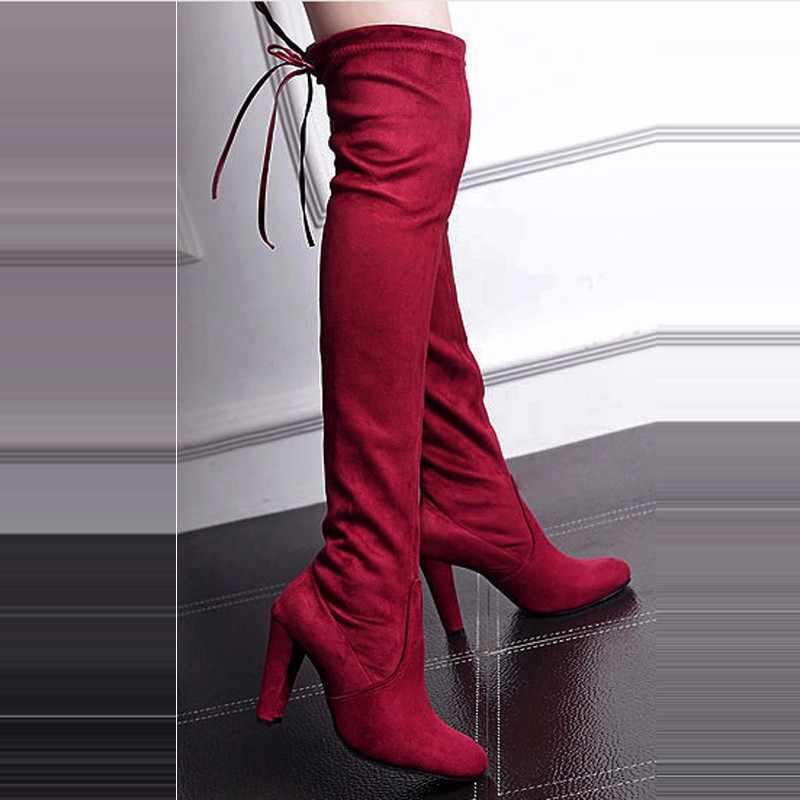 נשים אתחול פו זמש נשים מעל הברך מגפי תחרה עד סקסי עקבים גבוהים נעלי אישה נקבה Slim ירך גבוהה מגפי Botas 35-43