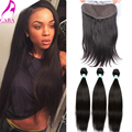 Lace Frontal Closure With Bundles 7A Malaysian Virgin Hair Straight Ear To Ear 13x4 Lace Frontal With Bundles Cara Hair Products