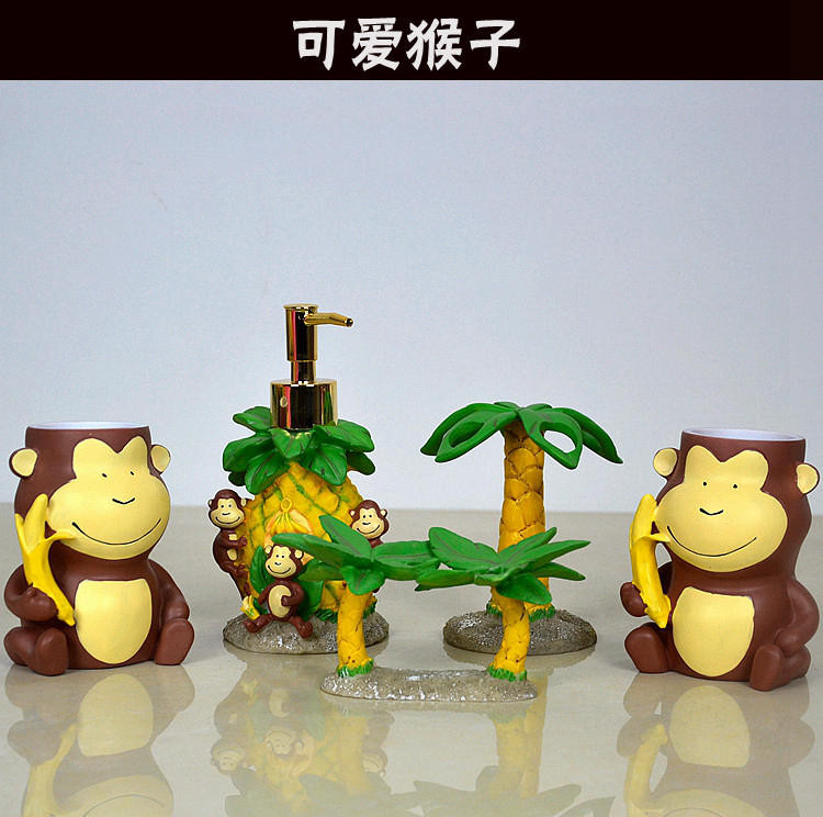 Fashion Resin Bathroom Set Five Pieces Set Lovely Cartoon Monkey Shape  Bathroom Supplies Bothroom Decoration Home