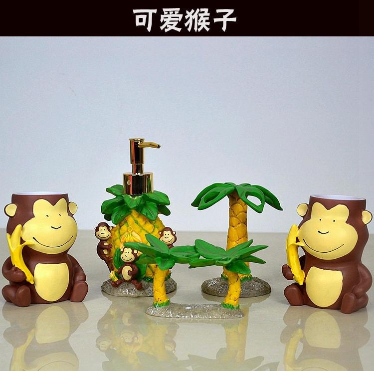 Fashion Resin Bathroom Set Five Pieces Set Lovely Cartoon Monkey Shape Bathroom Supplies Bothroom Decoration Home Decor