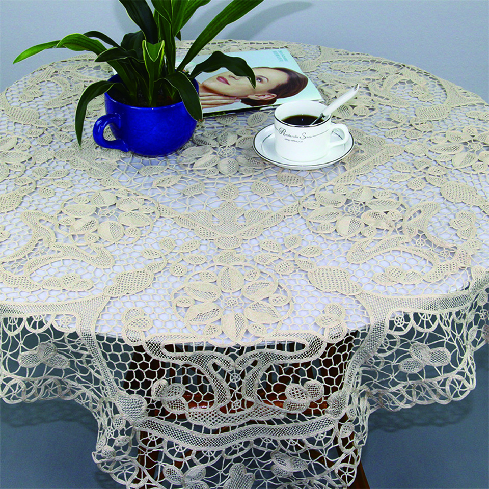 Order: 1 Piece. QUNYINGXIU Tuscany Lace Tablecloth Beige Handmade Cotton  Floral Round Table Cover Exquisite Tabelcloth 45*45