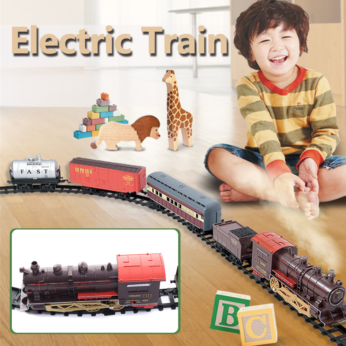 Classic Electric Smoking Assembling Track With Sound Steam Train For Kids Educational Gift Toys/Birthday Christmas Gift