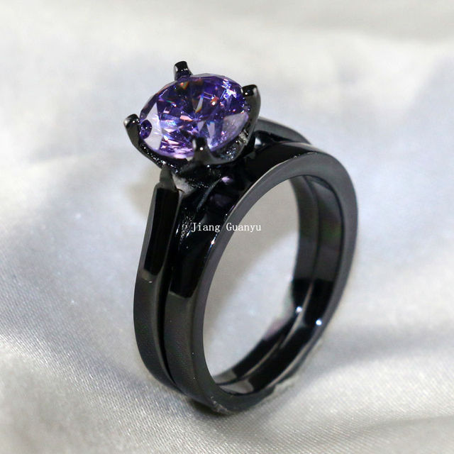 Black Gold Filled 1CT Round 5mm Purple CZ Womens Wedding Ring Sets