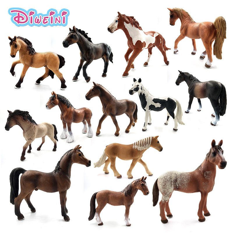 New Zoo Simulation Farm animal Plastic model building Hanoverian Wild Horse figurine PVC toy garden Action figures Gift For Kids цена