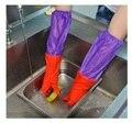 Новый 2016 плюс бархат с толстыми длинные перчатки для мытья посуды Резиновые перчатки стирать одежду Водонепроницаемый теплый утолщение