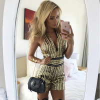 Cakucool Full Sequins Gold Sexy Slim playsuit Women Sleeveless V neck Backless Casual Capris Shiny Club Bodycon Overall Femme