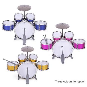 Dzieci zabawki dzieci perkusja Instrument muzyczny zabawka 5 perkusja z małym talerzem stołek bęben kij zabawki muzyczne dzieci prezent na boże narodzenie tanie i dobre opinie Ametoys Plastic Edukacyjne Musical Drum Set 3 lat Unisex 11 pcs