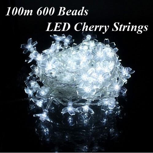 Fairy LED String Lights holiday 220V 100m 600 Garland Cherry Bulbs christmas party outdoor lighting wedding luminaria decoration