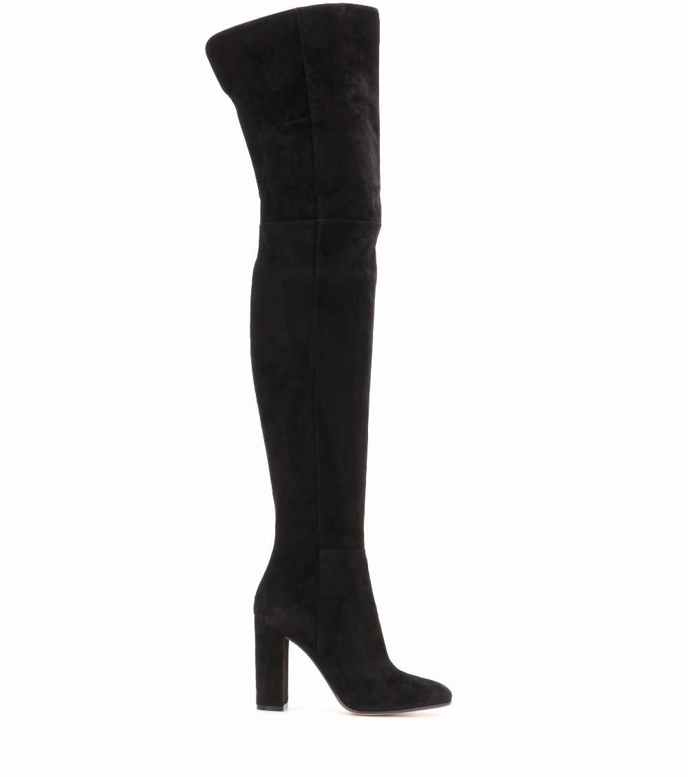 6bf2ef5bf16 ... Women Black Velvet High Heel Thigh High Boots Ladies Faux Suede Round  Toe Chunky Heel Over ...