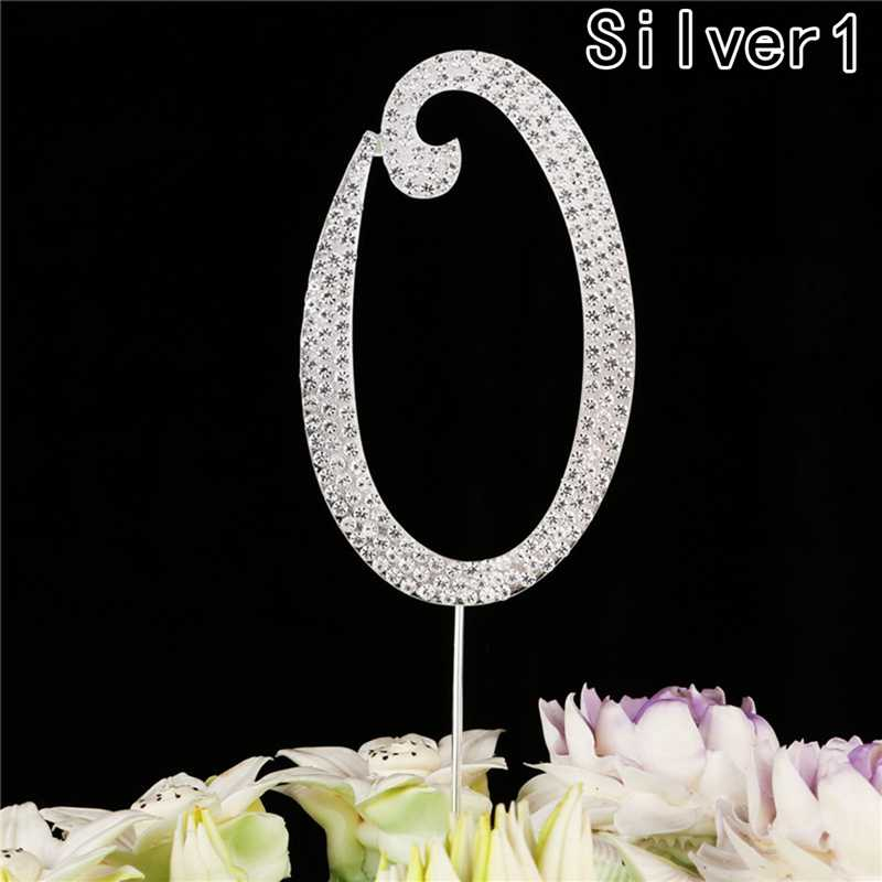 1pc Silver Glitter Cake Topper Number Cupcake Toppers Birthday Party Decorations Gifts For Baby Shower Kids Favors