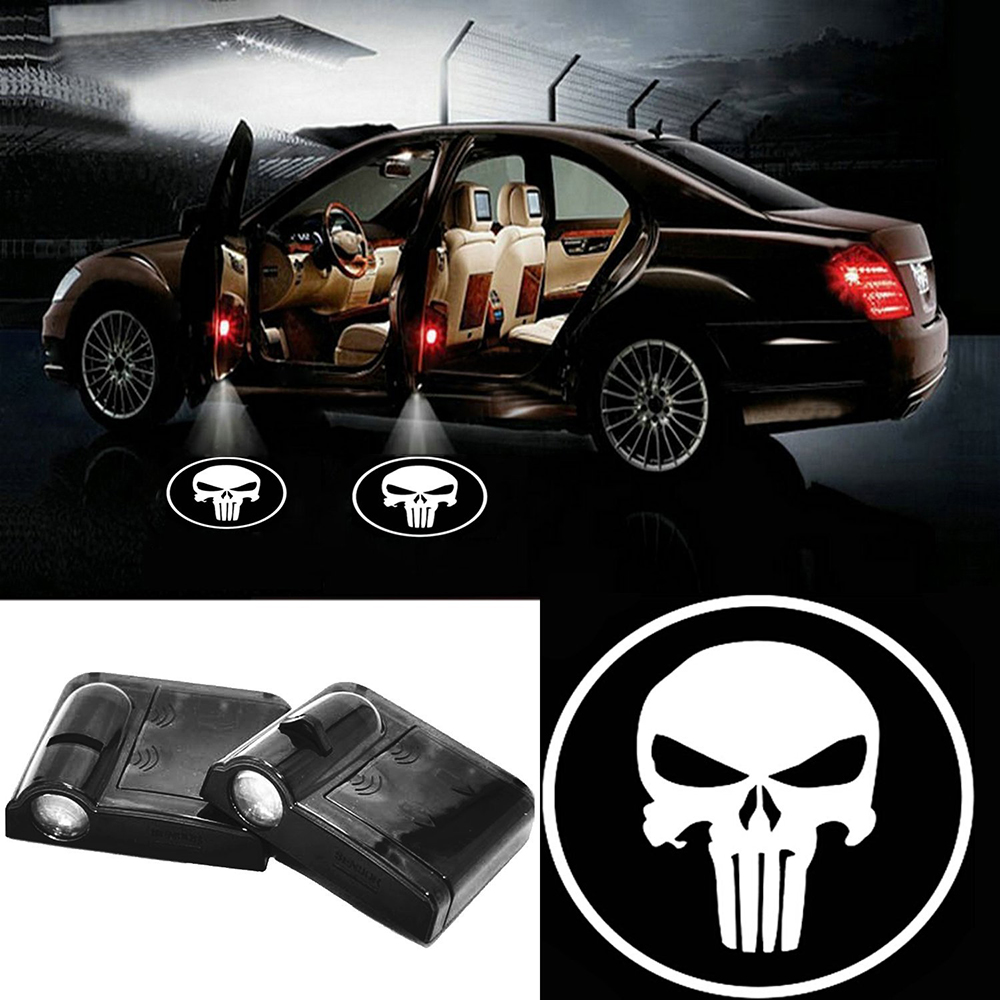 2 X Wireless Car Door LED Projection Punisher Projector