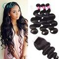 7a não transformados 3 pacotes com fecho de cabelo virgem peruano com fechos queen hair peruano onda do corpo do cabelo virgem com fecho
