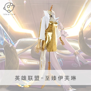 2019 Hot Game LOL KDA Group Evelynn Sexy Gold Cosplay Costume Girl's Dress+Coat full sets A