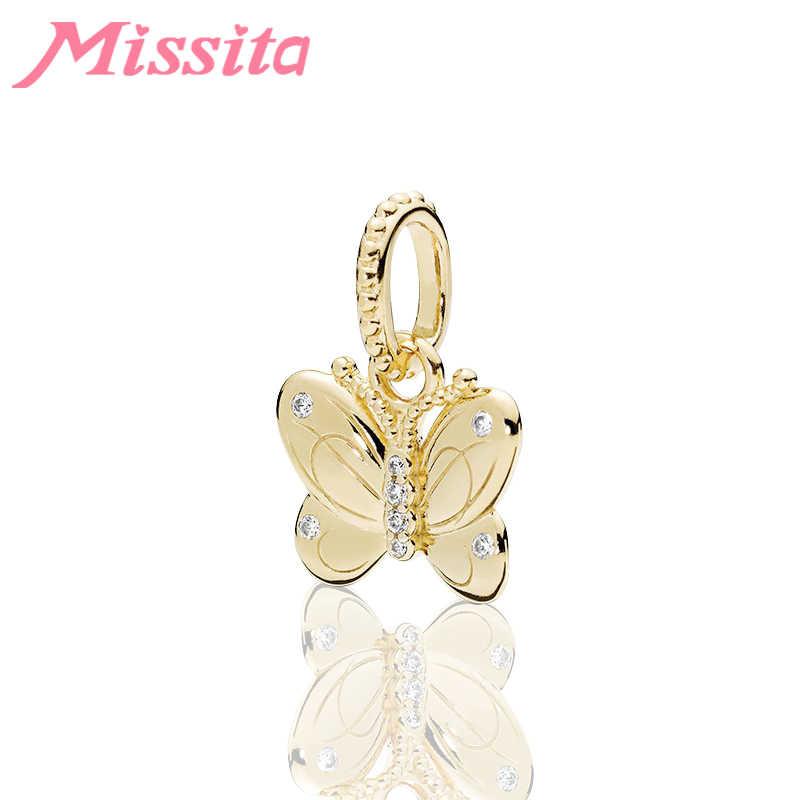 MISSITA רומנטי זהב פרפר תליון fit פנדורה צמידי שרשראות עבור תכשיטי ביצוע גבירותיי תכשיטי אביזרי מתנה