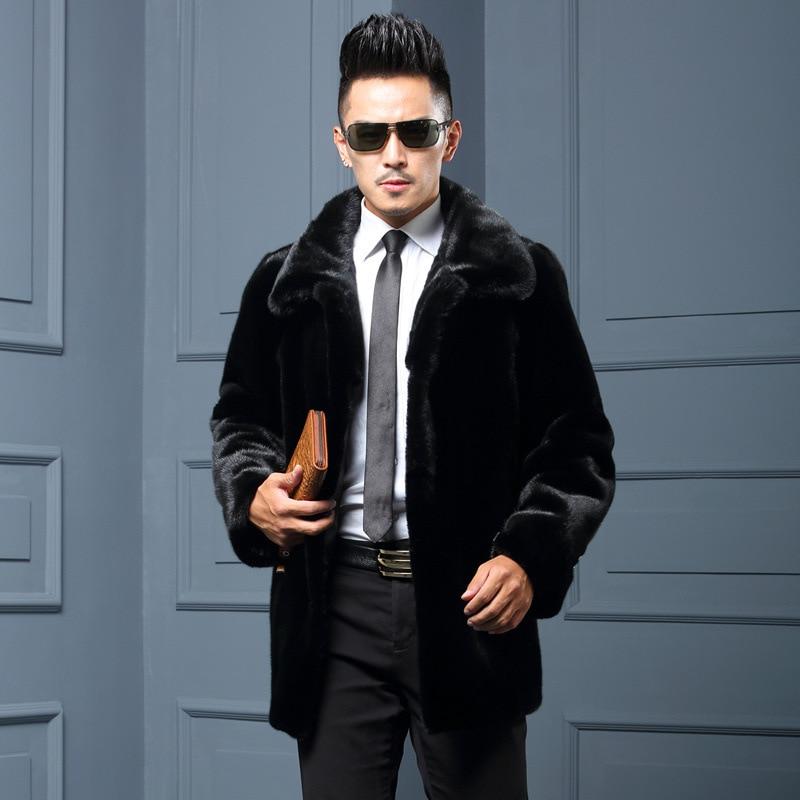 Meilleure vente! Hommes 2018 nouveau hiver noir mode long manteau en fausse fourrure renard fourrure col rabattu complet manteaux de fourrure HN204