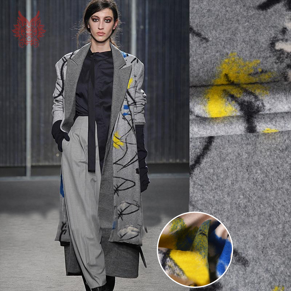 American European Style Beige Grey Designer Jacquard 100 Wool Fabric For Coat Thick Woolen Telas Tecidos