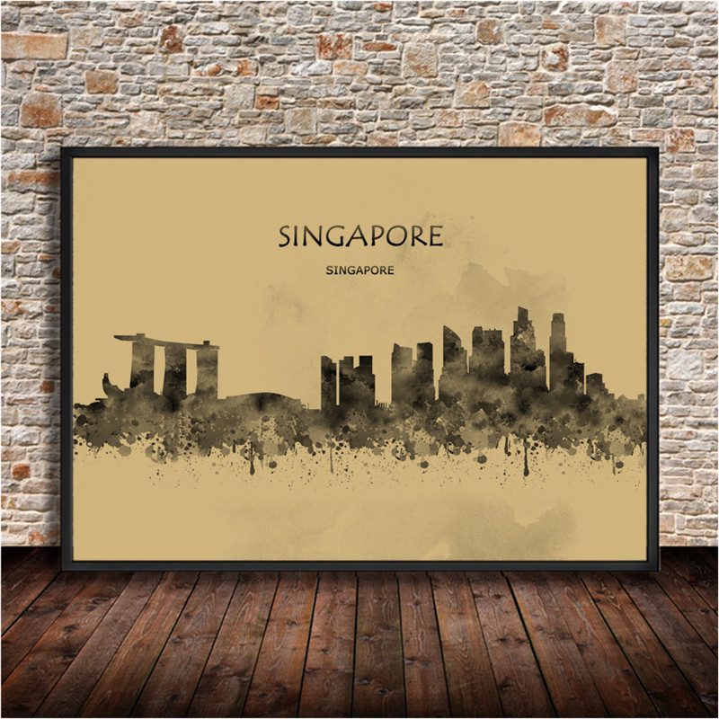 Abstract Watercolor City Building Painting SINGAPORE Krafts Paper Poster Living Room Wall Sticker House Decor Bar Cafe 42x30cm