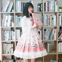 Princess daily sweet lolita dress palace lace bowknot cute printing victorian dress+lolita top gothic lolita set kawaii girl cos