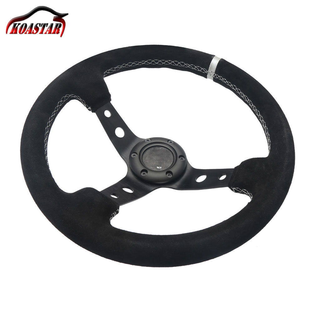 330mm race leather car steering wheel 13 inch deep corn dish suede steering wheel with black