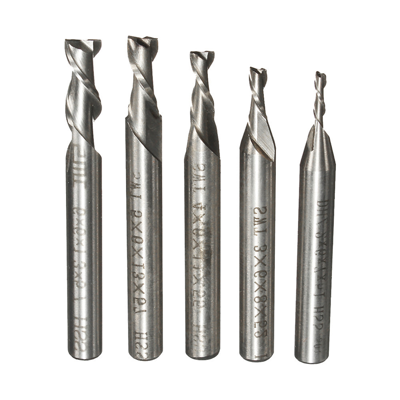 5pcs/Set 2 Flute 2/3/4/5/6mm 6mm Shank Milling Cutter HSS End Mill CNC Engraving Bit Straight Shank Drill Bit Tools
